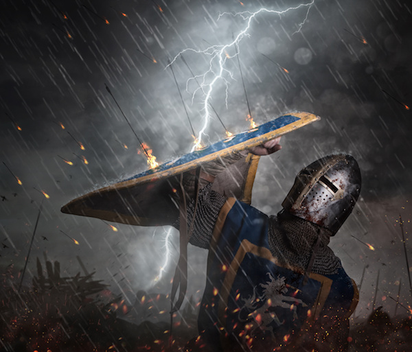 Lightning strikes a knight on battlefield.
